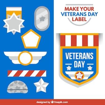 Colección de etiquetas del día del veterano
