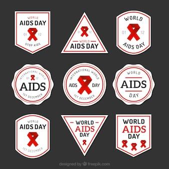 Colección de etiquetas del día mundial contra el sida