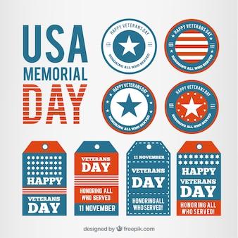 Colección de etiquetas del Memorial Day