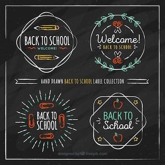 Colección de etiquetas dibujadas a mano para volver al colegio