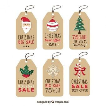 Colección de etiquetas navideñas de rebajas
