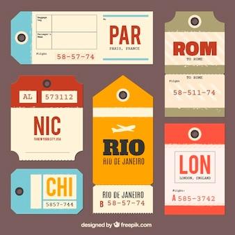Colección de etiquetas planas de equipaje