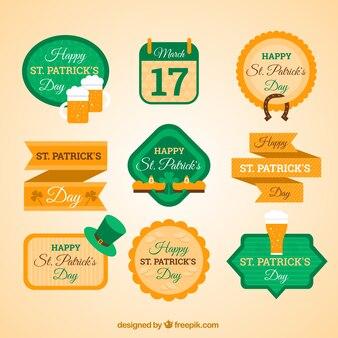 Colección de etiquetas planas de San Patricio