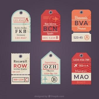 Colección de etiquetas planas de viaje