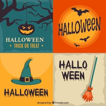 Colección de etiquetas retro de halloween