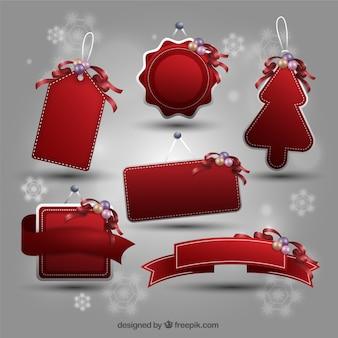 Colección de etiquetas rojas de navidad