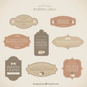 Colección de etiquetas vintage de boda