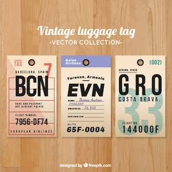 Colección de etiquetas vintage de equipaje