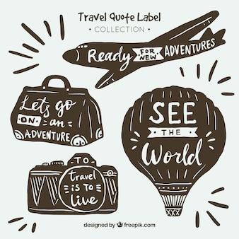 Colección de etiquetas vintage de viaje con citas dibujado a mano