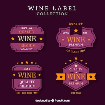 Colección de etiquetas vintage de vino