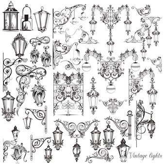 Colección de farolas ornamentales dibujadas a mano