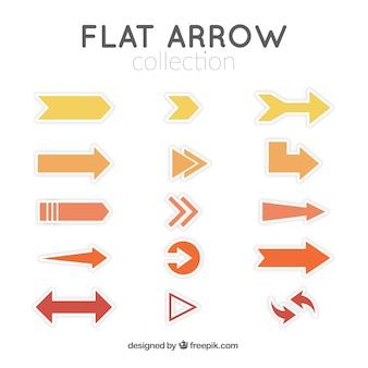 Colección de flechas amarillas y naranjas en diseño plano