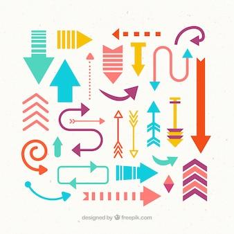 Colección de flechas bonitas y coloridas