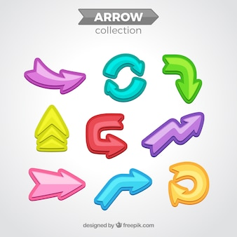 Colección de flechas con diseño plano