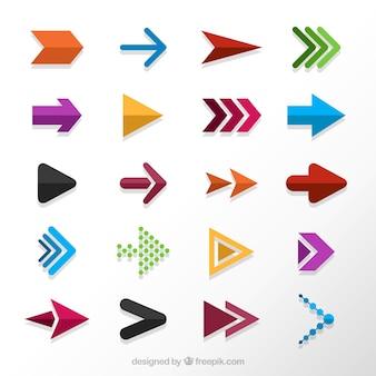 Colección de flechas de colores en diseño plano