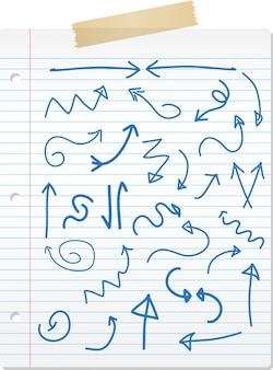 Colección de flechas dibujados a mano en papel rayado