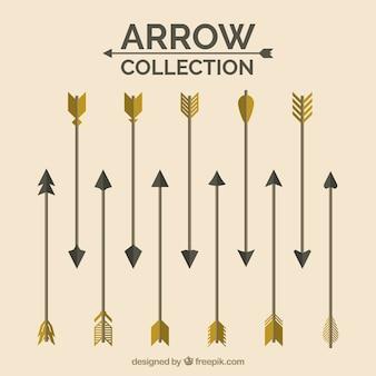 Colección de flechas doradas y negras