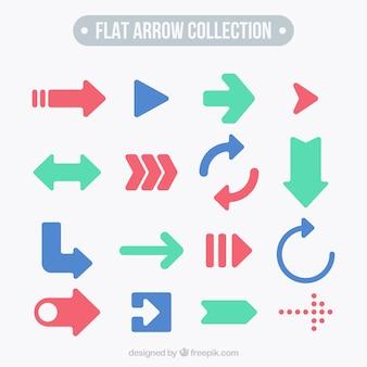 Colección de flechas en diseño plano