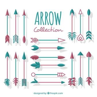 Colección de flechas étnicas en diseño plano