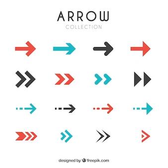 Colección de flechas modernas en diseño plano