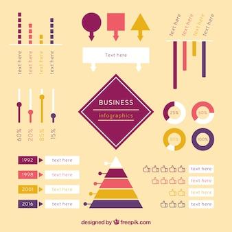 Colección de flechas y elementos infográficos en diseño plano