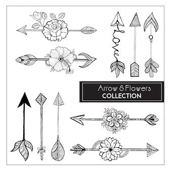 Colección de flechas y flores de estilo Boho dibujado a mano