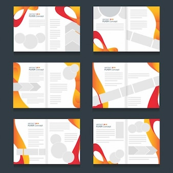 Colección de folletos de formas abstractas