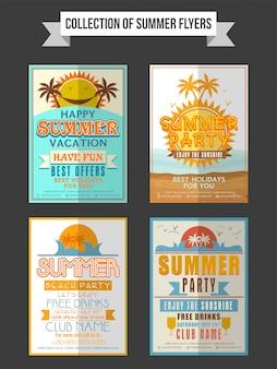 Colección de folletos, plantillas o pancartas de fiesta de verano
