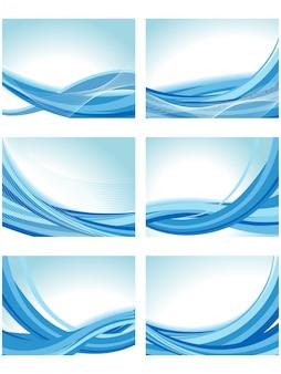 Colección de fondos azules ondulados
