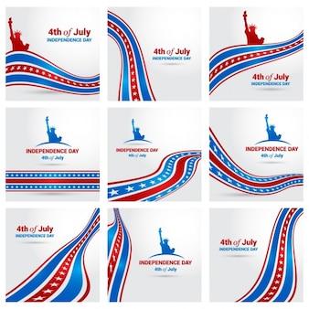 Colección de fondos del día de la independecia americana con la bandera