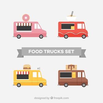 Colección de food trucks con diseño plano