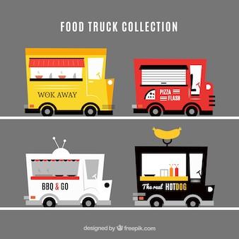 Colección de food trucks con estilo moderno