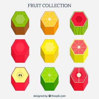 Colección de fruta geométrica