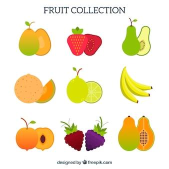 Colección de frutas en diseño plano