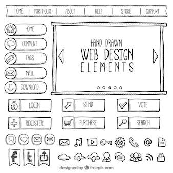 Colección de garabatos de elementos web