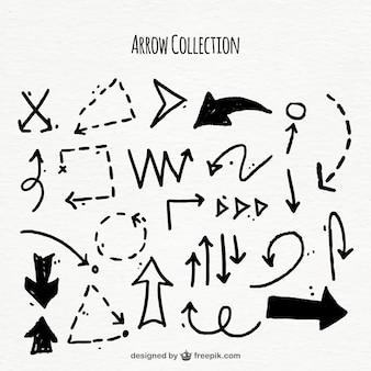 Colección de garabatos de flechas