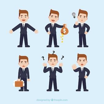 Colección de genial personaje de hombre de negocio con diferentes expresiones