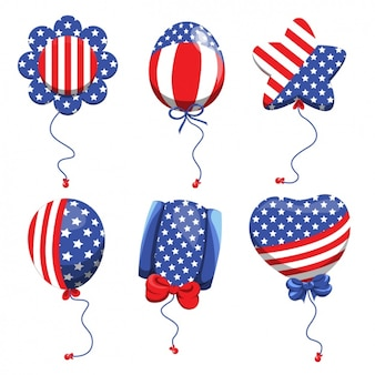 Colección de globos con los colores de la bandera americana