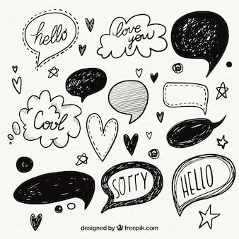Colección de globos de diálogo dibujados a mano