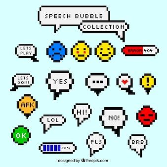 Colección de globos de diálogos y emoticonos pixelados