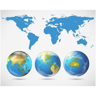 Colección de globos del mundo a color