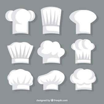 Colección de gorros blancos de chef