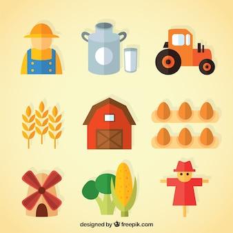Colección de granjero y objetos útiles de granja en diseño plano