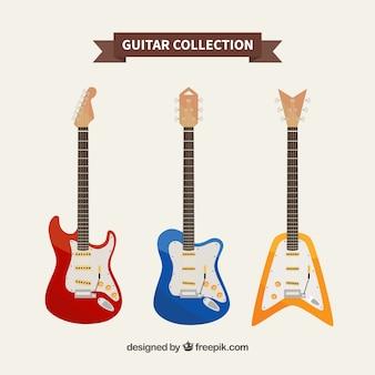Colección de guitarras multicolor
