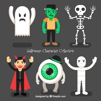 Colección de halloween de personajes enojados