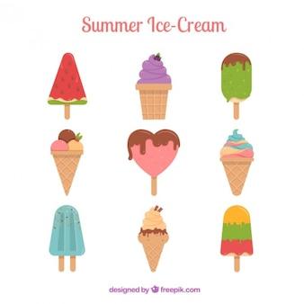 Colección de helados de verano