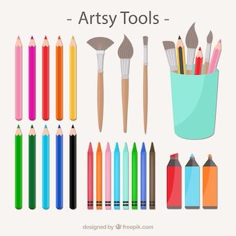 Colección de herramientas artísticas