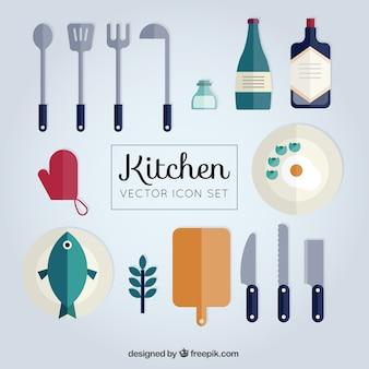 Colección de herramientas planas de cocina