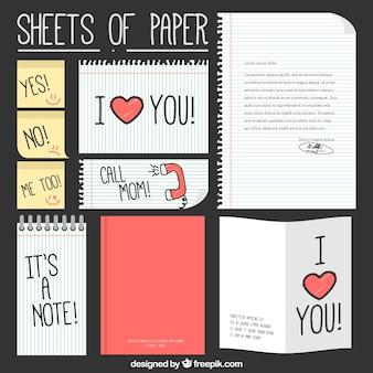 Colección de hojas de papel con mensajes