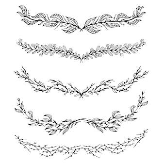 Colección de hojas dibujadas a mano